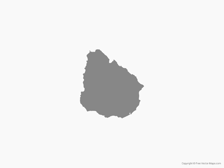 Free Vector Map of Uruguay - Single Color