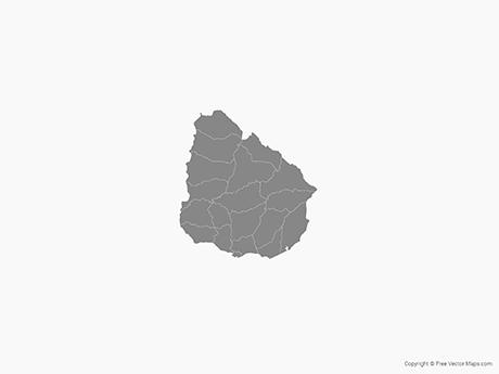 Free Vector Map of Uruguay with Departments - Single Color