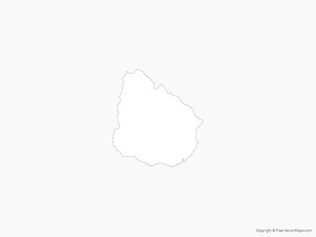 Vector Map Of Uruguay Outline Free Vector Maps - Uruguay blank map