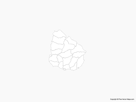 Free Vector Map of Uruguay with Departments - Outline