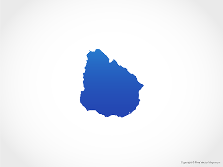 Free Vector Map of Uruguay - Blue