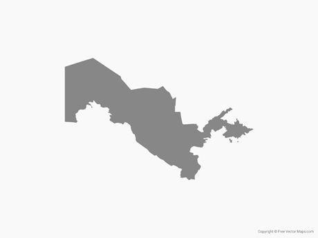Free Vector Map of Uzbekistan - Single Color