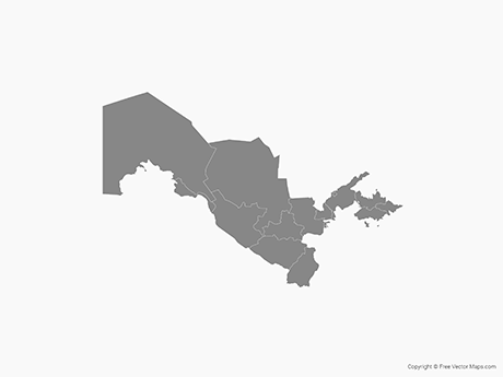 Free Vector Map of Uzbekistan with Regions - Single Color