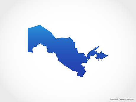Free Vector Map of Uzbekistan - Blue