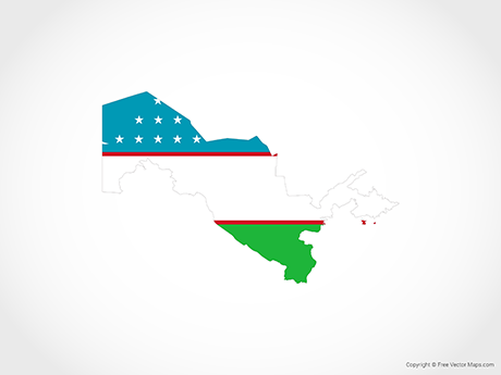 Free Vector Map of Uzbekistan - Flag