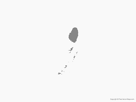 Free Vector Map of Saint Vincent and the Grenadines - Single Color