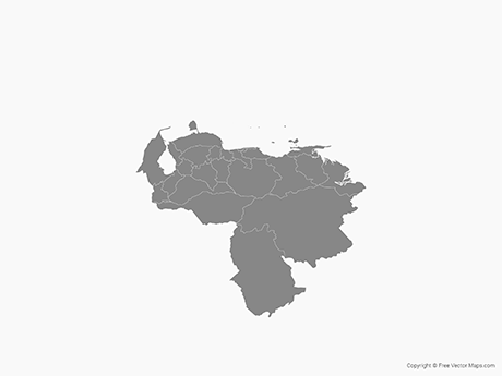 Free Vector Map of Venezuela with States - Single Color