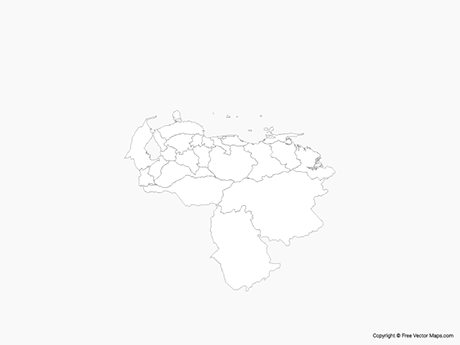 Free Vector Map of Venezuela with States - Outline