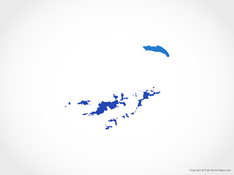 Free Vector Map of British Virgin Islands - Blue