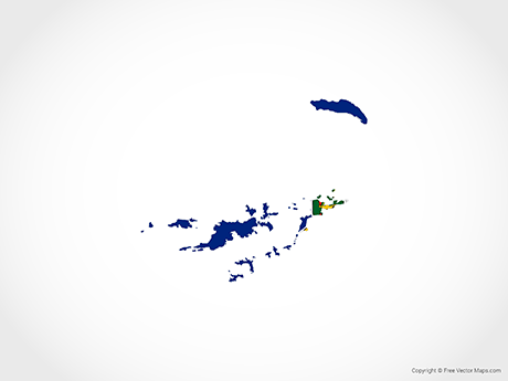 Free Vector Map of British Virgin Islands - Flag