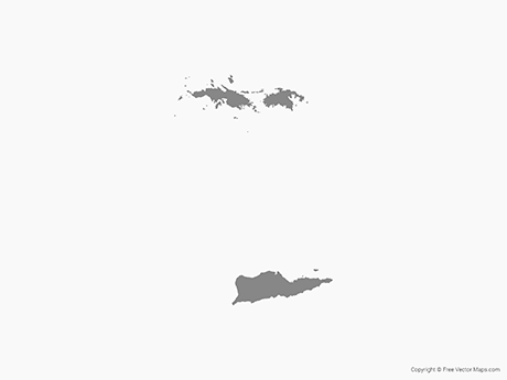Map of US Virgin Islands - Single Color