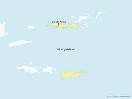 Free Vector Map of US Virgin Islands