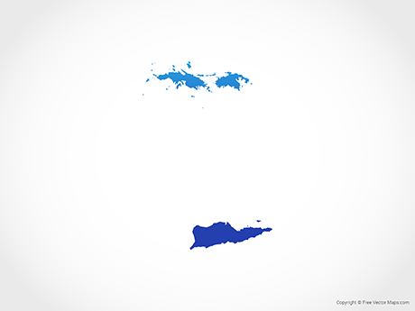 Free Vector Map of US Virgin Islands - Blue
