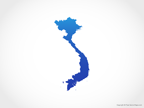 Free Vector Map of Vietnam - Blue