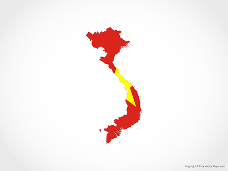 Free Vector Map of Vietnam - Flag