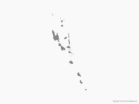 Free Vector Map of Vanuatu with Provinces - Single Color