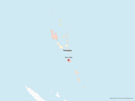 Free Vector Map of Vanuatu with Provinces - Multicolor