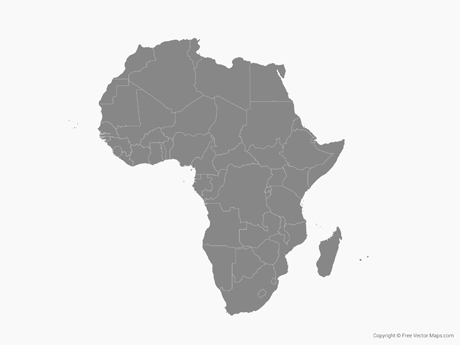 Free Vector Map of Africa with Countries - Single Color