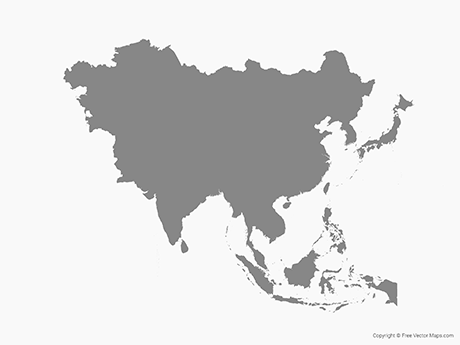 Free Vector Map of Asia - Single Color