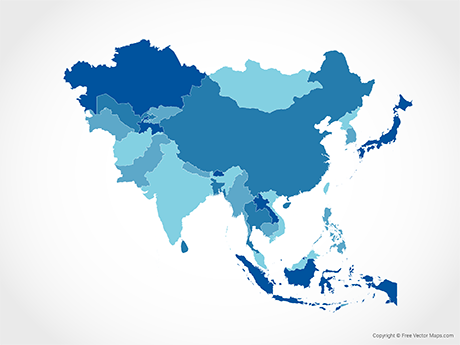 Free Vector Map of Asia with Countries - Blue