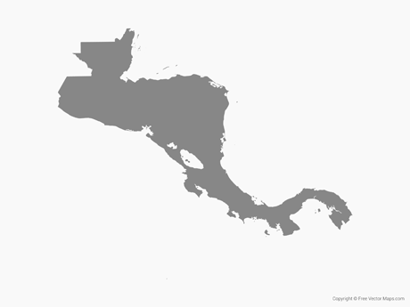 Free Vector Map of Central America - Single Color
