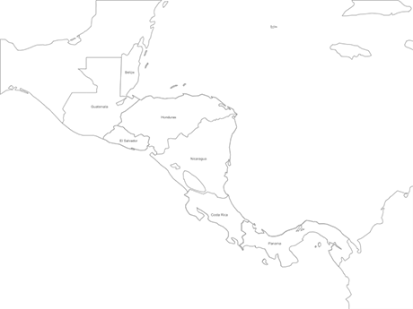 PowerPoint® Map of Central America with Countries - Outline ...