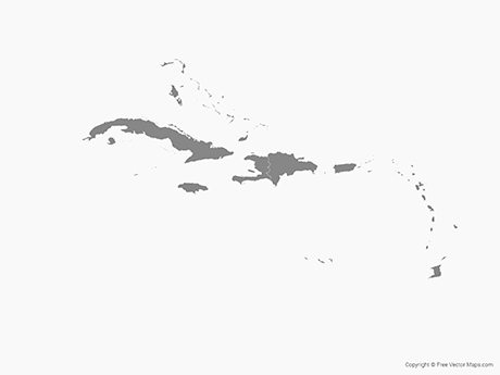 Free Vector Map of Caribbean Islands with Countries - Single Color