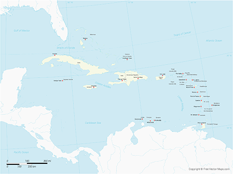 Vector Map of Caribbean Islands with Countries