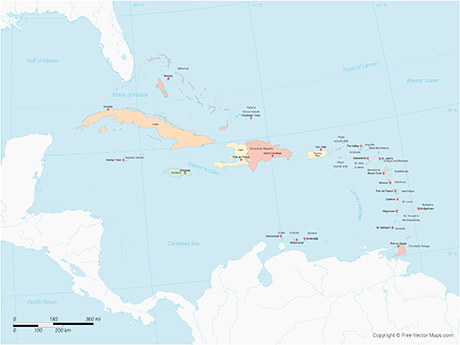 Vector Map of Caribbean Islands with Countries - Multicolor