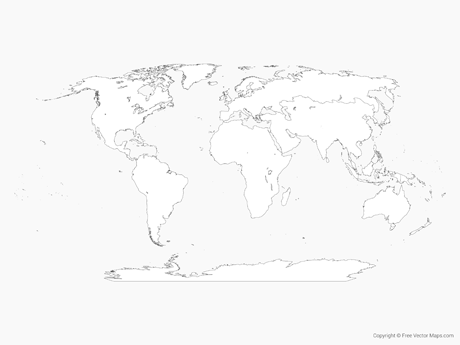 Free Vector Map of World with Regions  - Outline