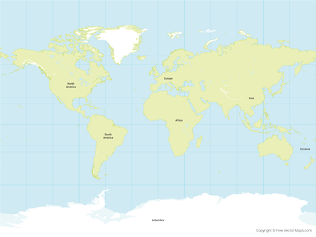 Free Vector Map of World with Glaciated Areas