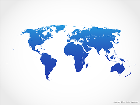 Free Vector Map of World with Regions - Blue