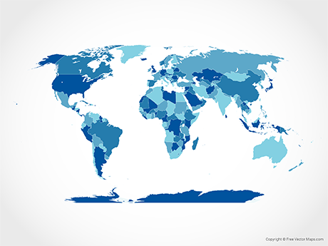 Free Vector Map of World with Countries - Blue