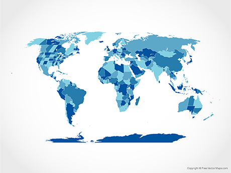 Free Vector Map of World with Countries and US, Canadian and Australian States - Blue