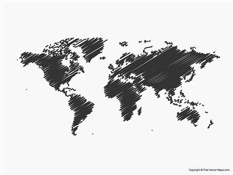 Free Vector Map of World - Sketch