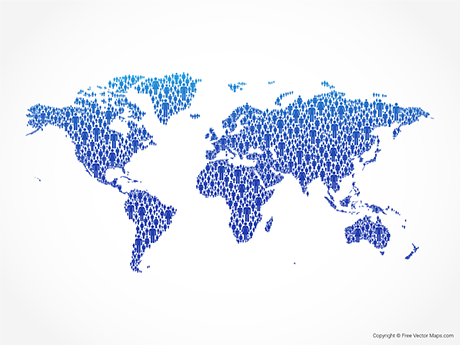 Free Vector Map of World - Blue People