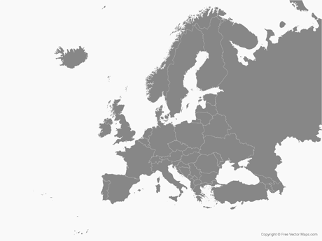 free vector map of europe with countries single color