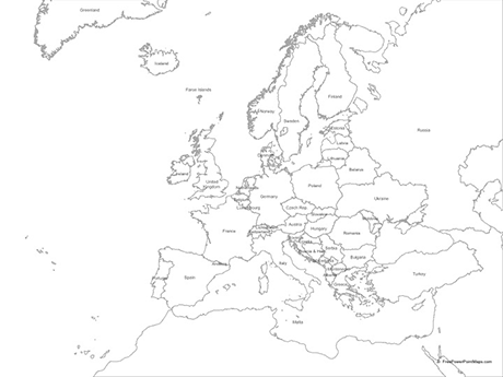 Powerpoint Map Of Europe With Countries Outline Free Vector Maps