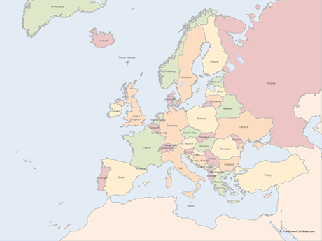 Free Vector Map of Europe with Countries - Multicolor
