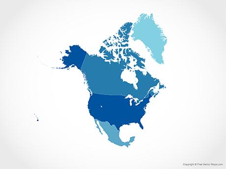 Free Vector Map of North America with Countries - Blue