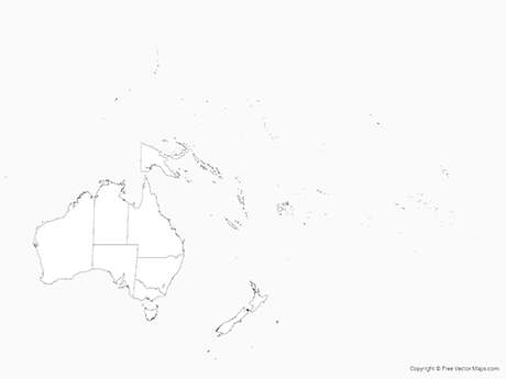 Free Vector Map of Oceania with Countries including Australia with States - Outline