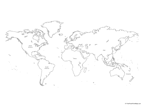 Free Vector Map of World - Outline