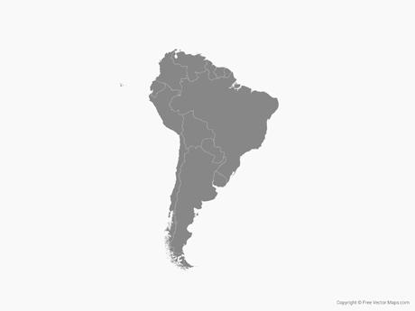 Free Vector Map of South America with Countries - Single Color