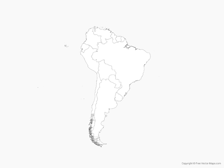 Free Vector Map of South America with Countries - Outline