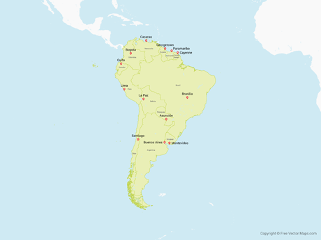 Free Vector Map of South America with Countries