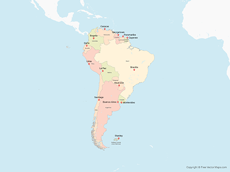 Free Vector Map of South America with Countries - Multicolor