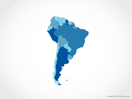 Free Vector Map of South America with Countries - Blue