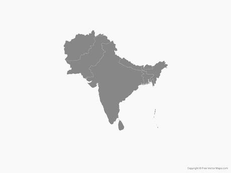 Vector Map Of South Asia With Countries Single Color Free - South asia map