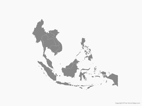 Free Vector Map of Southeast Asia with Countries - Single Color