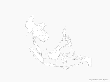 Free Vector Map of Southeast Asia with Countries - Outline